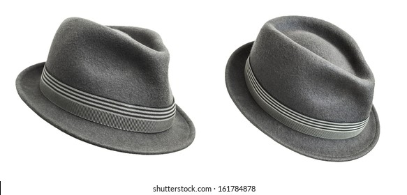 Grey felt trilby/fedora hat - two views, isolated on white.