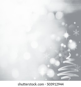 Grey Festive Christmas background with Christmas tree. Elegant abstract background with bokeh defocused lights and stars