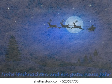 Grey fiber fabric and blue glitter film and reindeer and sled and the german words for Merry Christmas and a happy new year, christmas card