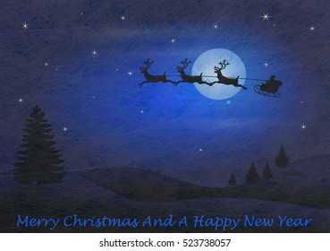 Grey fiber fabric and blue glitter film and reindeer and sled and the words Merry Christmas and a happy new year, christmas card