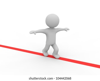 grey figure balancing on a red line