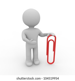 grey figure with a red paper clip