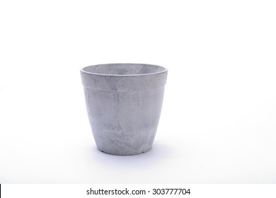 Grey flowerpot. Isolated on white background