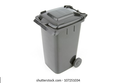 Grey garbage wheelie bin with a closed lid on a white background.