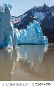 Grey Glacier Reflection in Vertical Format, Torres del Paine national park, Patagonia, Chile.