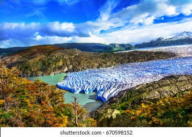 Grey Glacier,Patagonia, Chile - a glacier in the Southern Patagonian Ice Field, Cordillera del Paine