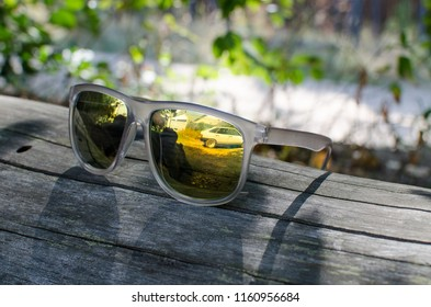 grey glasses lying on the tree