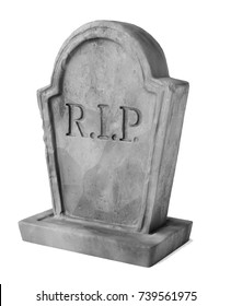 Grey gravestone isolated on white background. 3D illustration 3/4 angled view.