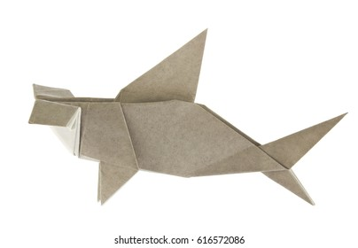 Grey hammerhead shark of origami, isolated on white background.
