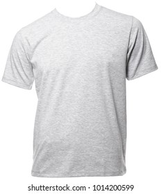 Grey heathered shortsleeve cotton T-Shirt on a mannequin isolated on a white background