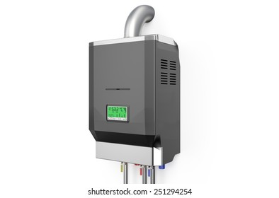 Grey home gas-fired boiler,  water heater isolated on white background