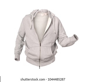 grey hoodie isolated on white