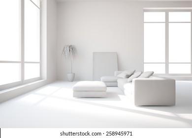 grey interior design-3D rendering