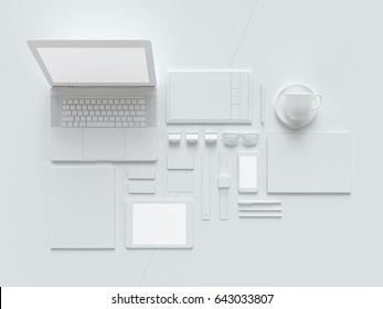 Grey and isolated office supplies with attributes furniture for office. 3D illustration.