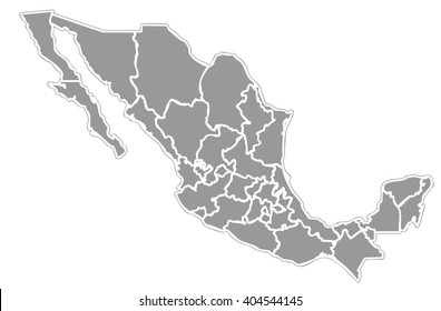 grey isolated political mexican map of mexico state of america with white outline of internal country frontier contour
