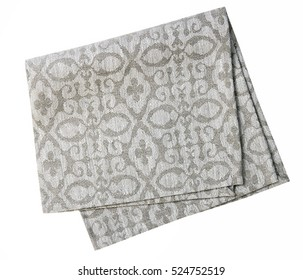 Grey kitchen textile linen cloth isolated on white.Clean folded towel.