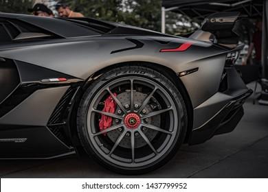 Grey Lamborghini Aventador SVJ Parked in an outdoor shopping mall in Las Vegas, Nevada / USA - June 26th, 2019