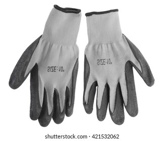 Grey leather work gloves isolated on white background