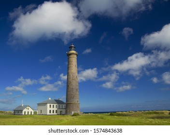 Grey lighthouse near Skagen (Grenen) in northern Denmark