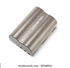 grey lithium-ion battery top view isolated on white