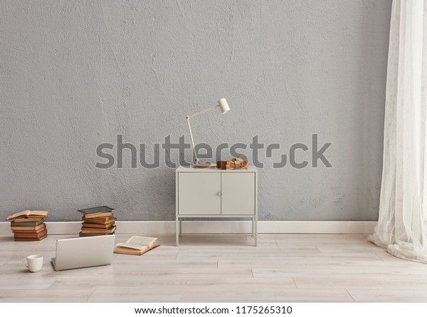 Grey Living Room Grey Small Cabinet | Royalty-Free Stock Image
