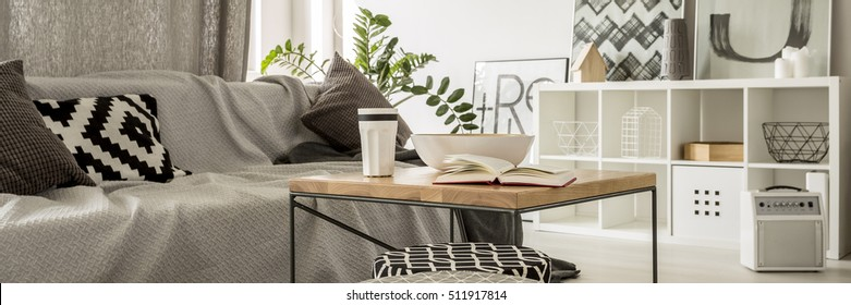 Grey living room with sofa, rack and coffee table
