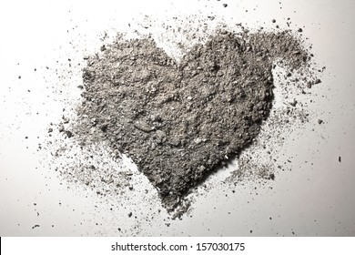 Grey love heart made of ash