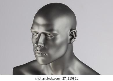 Grey mannequin head on white background