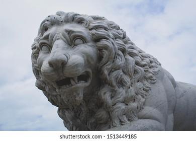 Grey marble lion head statue.