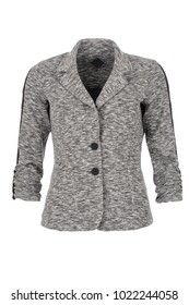 Grey melange, women's fashion blazer, photographed on ghost mannequin, isolated on white background. Front view.