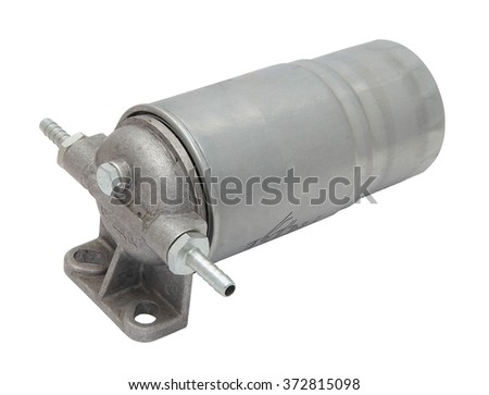 grey metal boat fuel filter with hose inlet and outlet fittings isolated on  white