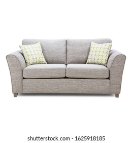 Grey Mid Back Linen Sofa Bed Isolated on White Background. Classic Upholstered Loveseat with Armrests and Seat Cushion Front View. Modern Large 2 Seater Couch with Two Scatter Pillows