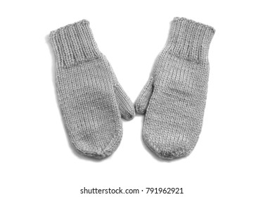 Grey mittens isolated on white background