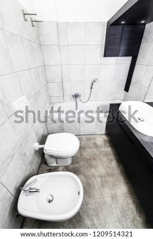 Grey Modern Bathroom Toilette Bidet Washbasin Stock Photo Edit Now