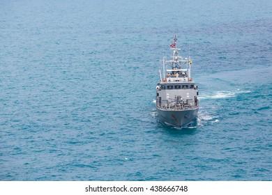 Grey modern warship,aerial view