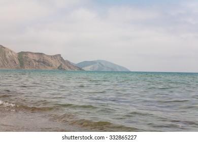 Grey mountains and blue sea in Crimea