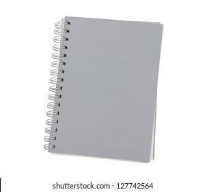 grey notebook isolated on white background