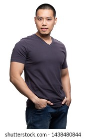 Grey on asian model for v-neck tshirt blank mockup template in your clothing design.