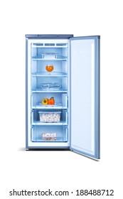 Grey open freezer with food