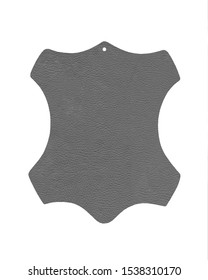 Grey original leather sign made of 100% real leather isolated on white background. Leather symbol - animal hide. Label for genuine rawhide material. Clean cowhide shape