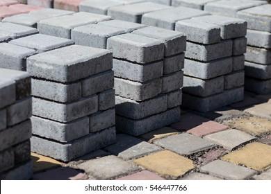 Grey pavement blocks