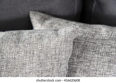 Grey pillows in soft focus