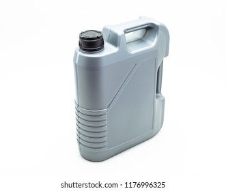 Grey, plastic motor oil container with a capacity of five liters. Isolated on a white background with a clipping path.