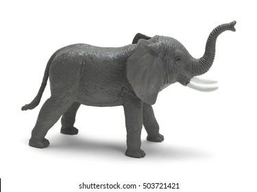 Grey Plastic Toy Elephant Isolated on White Background.