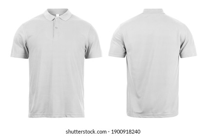 Grey polo shirts mockup front and back used as design template, isolated on white background with clipping path.