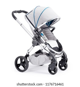 Grey Pushchair Isolated on White Background. Side View of Stroller. Travel System with Canopy and Swivel Front Wheels. Infant Carriage Seat. Baby Transport or Pram with Adjustable Showerproof Hood