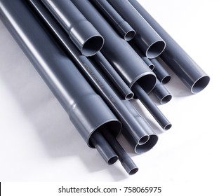 Grey PVC-U watering system pipes is isolated on white.