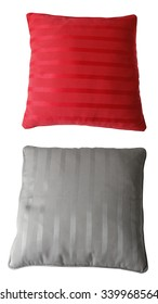 Grey and red cushions isolated on plain background