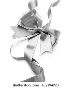 Grey ribbon bow  on a white background
