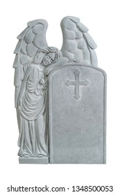 Grey rock sculpture tombstone with angel and cross